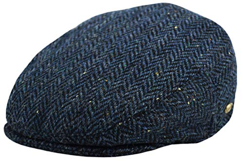 (Classic Men's Flat Hat Wool Newsboy Herringbone Tweed Driving Cap (IV3006-Navy, Medium))