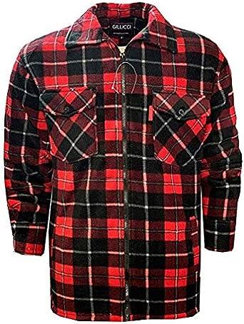 NY Deluxe Edition Camicia da uomo imbottita in pelliccia sherpa foderata calda spessa e termica taglie dalla S alla 3XL