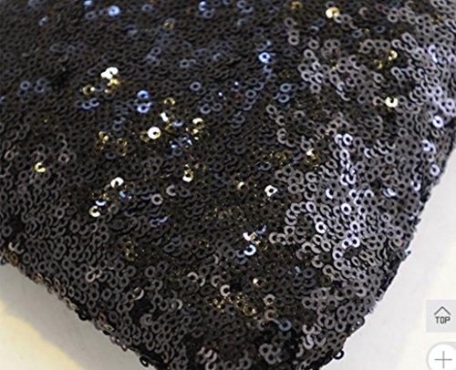 Soirée Main à Paillette Sac enveloppe Weekendy Arty à Noir Sac Sac Main 26x18x2cm à d'embrayage Main enveloppe Satin Sac Noir Main à dYFWSwASq