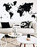 Enjoy The Wood Wood World Map Wall Map Art Large Push Pin Map of the World Travel map Rustic Home decor Office decor Wall decor Living room modern design home 100x50cm, 150x90cm, 200x102cm