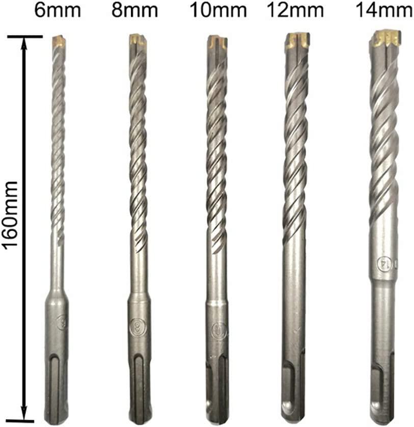 SDS Plus 5 unidades, 6 mm, 8 mm, 10 mm, 12 mm, 14 mm Juego de brocas para hormig/ón y mamposter/ía