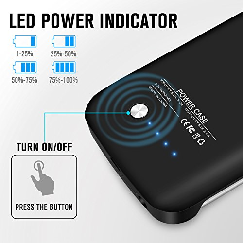 S6 Battery CaseExternal Battery predicament 4200mAh small easily transportable Backup Battery Charger Cover predicament Pack for Samsung Galaxy S6 Rechargeable Extended capability Bank Caseblack Charger Cases