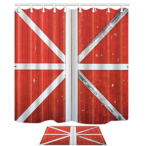 KOTOM Farmhouse on Village Decor, Traditional Red and White Wooden Barn Door, 69X70in Mildew Resistant Polyester Fabric Shower Curtain Suit With 15.7x23.6in Flannel Non-Slip Floor Doormat Bath Rugs