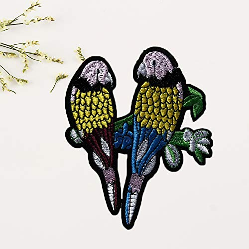 10cm Dosige Doble p/ájaro Pareja Amor p/ájaro Hermoso Vestido Bordado de Tela Apliques DIY Parche Decorativo Size 12