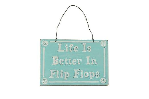 Cartel de madera de 10 x 15 cm, con frase «life is better in ...
