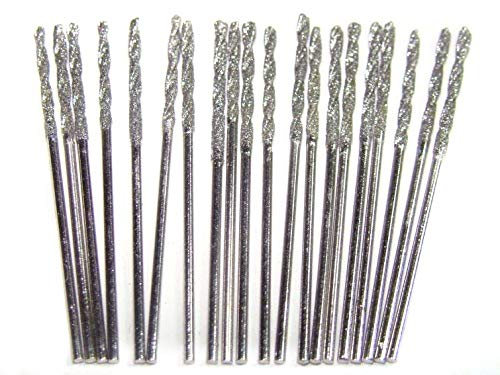 Diamond Coated 1mm Twist Drill Bit Set 20pcs. Jewelry Beach Sea Glass Shells Gemstones Lapidary 20 Pieces Kit Pack