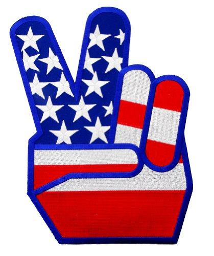 Large USA Peace Fingers Embroidered Patch 1960s Reproduction V Victory Sign Iron-On Anti-War (1960s Peace Sign)