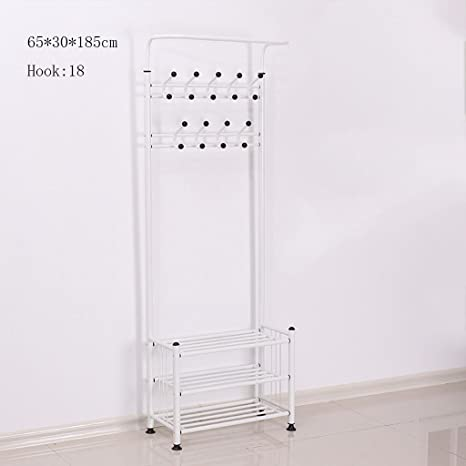 Amazon.com: GJM Shop Three-Tier Shoe Rack Two Rows of Hooks ...