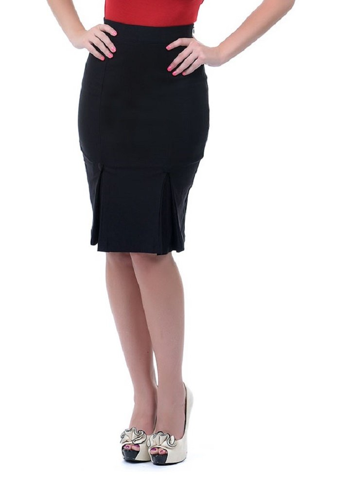Voodoo Vixen Vintage Style Office Lady Bombshell Fitted Wiggle Pencil Skirt (Small, Black)