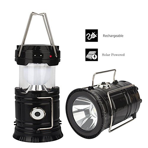 KiraS Camping Lantern Flashlight Solar Pack Portable Outdoor LED Rechargeable lantern Solar Lantern with 6AA Rechargeable batteries Collapsible (Black)