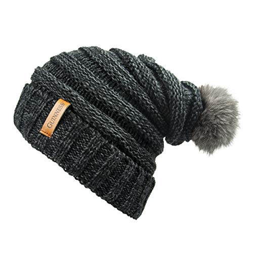 Guinness Dark Grey Slouchy Bauble Beanie with Brown Leather Patch ()