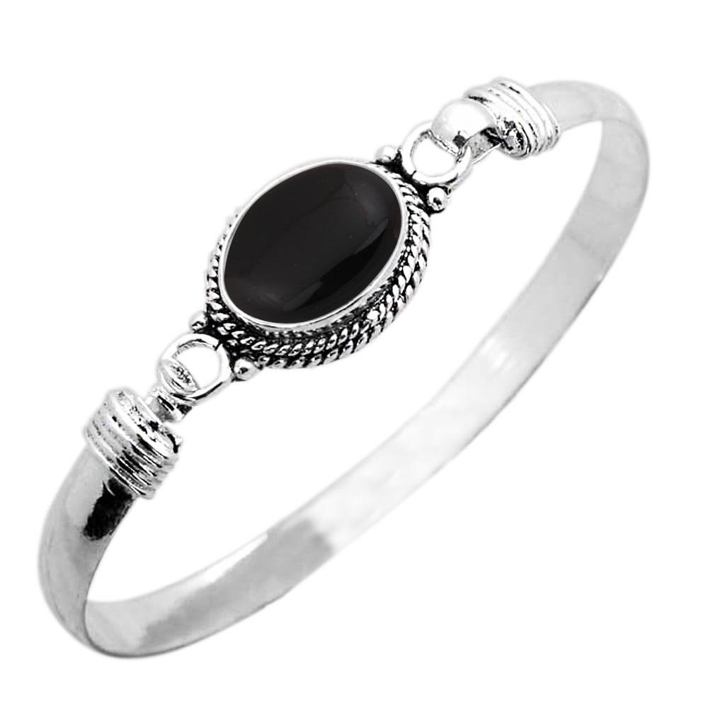 925 Silver Plated 9.10ct, Genuine Black Onyx Bangle Made By Sterling Silver Jewelry