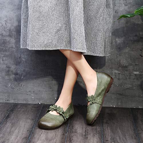 Soft Verde color Marrón Flores Mujeres Casual Eu Jane De Tamaño 39 Cuero Las Vintage Zhrui Mary XZqvSaxww