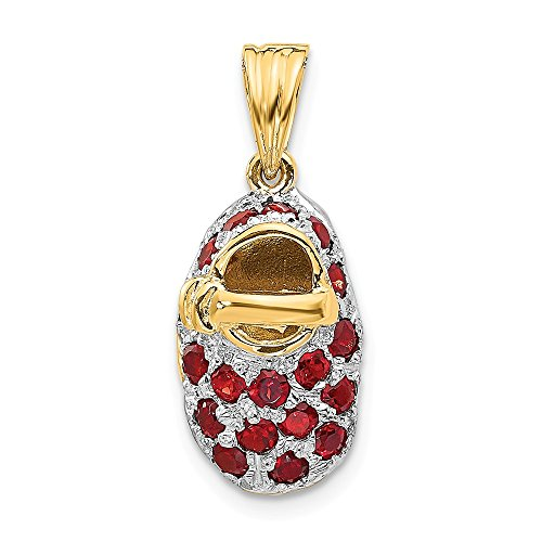 14K Yellow Gold & Rhodium Prong-Set January/Garnet Baby Shoe Charm ()