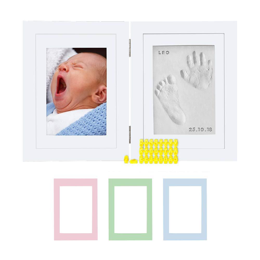 Kmall Newborn Baby Handprint Footprint Kit Wooden Photo Frame for Girls and Boys Baby Shower Gifts Set for Registry Christening Memorable Keepsake Box Decorations for Room Nursery Decor