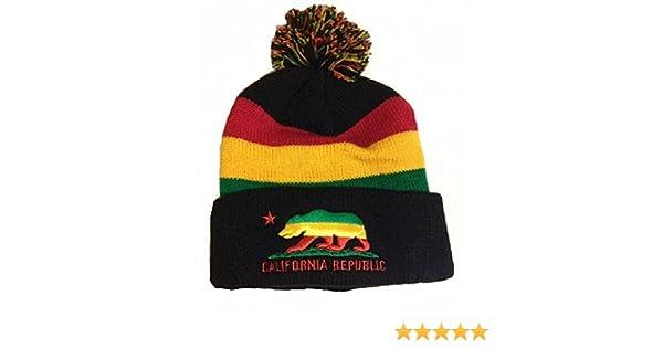 f0efe37c Rasta Stripes California Republic Reggae Beanie Hat with Pom Pom