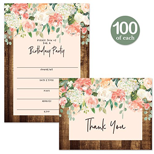 Birthday Invitations ( 100 ) & Matching Thank You Notes ( 100 ) Envelopes Included, Large Gathering Event Rustic Design Fill-in Invites & Folded Thank You Cards Church Office Birthday Best Value Set by Digibuddha