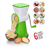 6 in 1 Rotary Slicer Grater and Shredder for Vegetables, Fruits, Dry-Fruits Drum Grater for Kitchen with Stainless Steel Blade by Next On (Green)