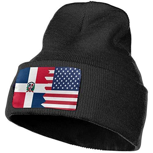 Boys and Girls Beanie Hat Dominican Republic USA Flag Classic Cuffed Plain Skull Knit Hat Cap Sports Fan Watch Cap Black