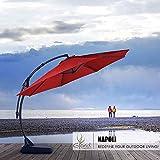 Grand patio Deluxe Napoli 12 FT Curvy Aluminum Offset Umbrella, Patio Cantilever Umbrella with Base, Red
