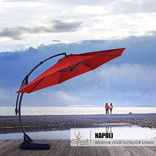 Grand patio Deluxe 12 FT Curvy Aluminum Offset Umbrella, Patio Cantilever Umbrella with Base, Red
