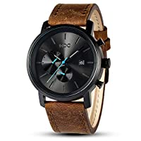 MDC Mens Fashion Watches Black Chronograph Quartz Wrist Watches for Men with Auto Date, Brown Leather/Stainless Steel Band