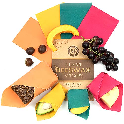 Beeswax Food Wraps by Green Way Solutions | Set of 4 Large 14x14 Organic Reusable Wraps | Ideal Eco-Friendly Natural Food Storage | Plastic-Free Alternative for Mindful People | Zero Waste Product