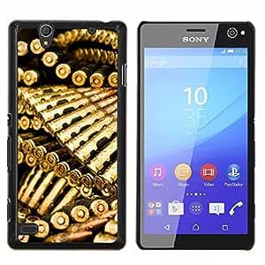 Las balas de oro Munición- Metal de aluminio y de plástico duro Caja del teléfono - Negro - Sony Xperia C4 E5303 E5306 E5353