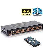 REEXBON HDMI Switch 4K@60Hz 5x1 Port Commutateurs Prend en Charge Les formats HDR, 1080P, Full HD / 3D, HDCP 2.2 pour TV, Blu-Ray, HDTV, PS3 / PS4, Xbox 360 / One