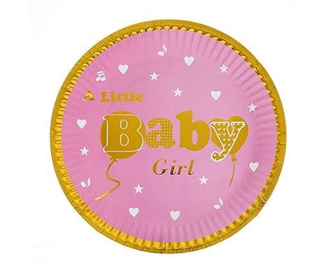 SDRTYHJ 20 unids/Lote Baby Girl Theme Platos de Papel ...
