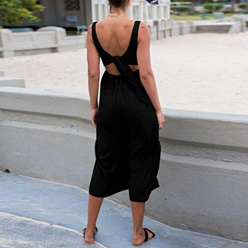 gamba da estivi a spiaggia Senza da V donna Nero a a donna alta vita scollo Sysnant da maniche larga Vestiti con Tuta estiva a7dZqqw