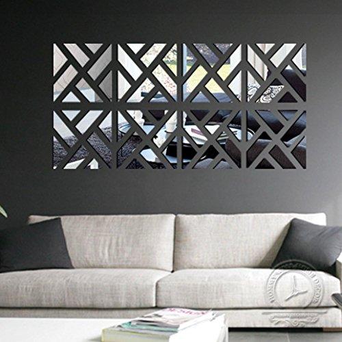 DKmagic 32Pcs Removable 3D Mirror Acrylic Wall Sticker DIY Art Vinyl Decal Home Decor (Silver) (Acrylic Mirror Tiles)