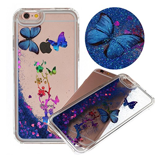 iPhone 6 Plus Case, Quicksand Flowing Floating Moving Liquid Flying Butterfly Plum Flower Hard PC Cover Case for iphone 6 Plus 5.5 inch (Blue Movable Butterfly (Gliter Flower)