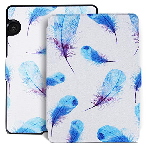 Aimerday Original Painting Folio Kindle Voyage Case - The Thinnest and Lightest Protective PU Leather Cover for Amazon Kindle Voyage with Auto Sleep/Wake Feather