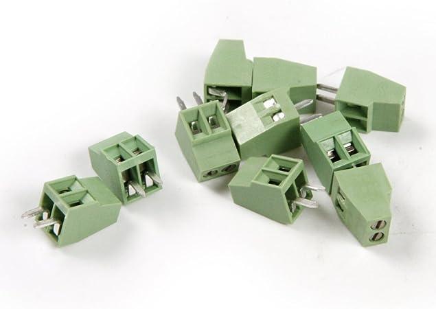 50pcs 2.54mm 2 Poles Connecteur Universel de Bornier /à Vis Vert PCB Connecteur de Bornier de PCB