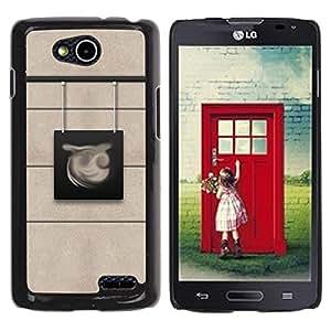 Be Good Phone Accessory // Dura Cáscara cubierta Protectora Caso Carcasa Funda de Protección para LG OPTIMUS L90 / D415 // Sign Beige Abstract City Character Lines