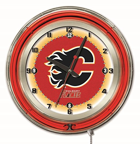 Holland Bar Stool Co. Calgary Flames HBS Neon Red Hockey Battery Powered Wall Clock (19