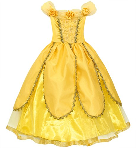 Cotrio Belle Costume Girls Princess Dresses Birthday Them Party Dress up Dress Halloween Costumes Size 12 (Yellow Flowers) -