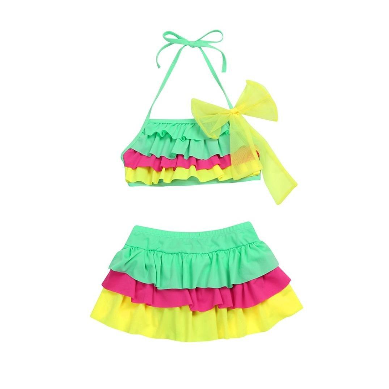 Fartido Kid Girl Gradient Tiered Ruffles Swimwear Young Girl Style Bikini Set