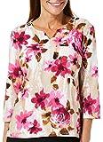 Alfred Dunner Petite Rose Print Split Neck Top Large Petite Pink/Beige