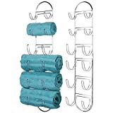Cheap mDesign Wall Mount Metal Wire Towel Storage Shelf Organizer Rack Holder with Six Compartments, Shelves for Bathroom Towels – Pack of 2, Chrome