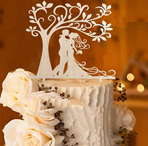 Bride and Groom Silhouette Tree Wedding Cake Topper Rustic Wood (5.7-inch) (Cake Topper Wedding African American)