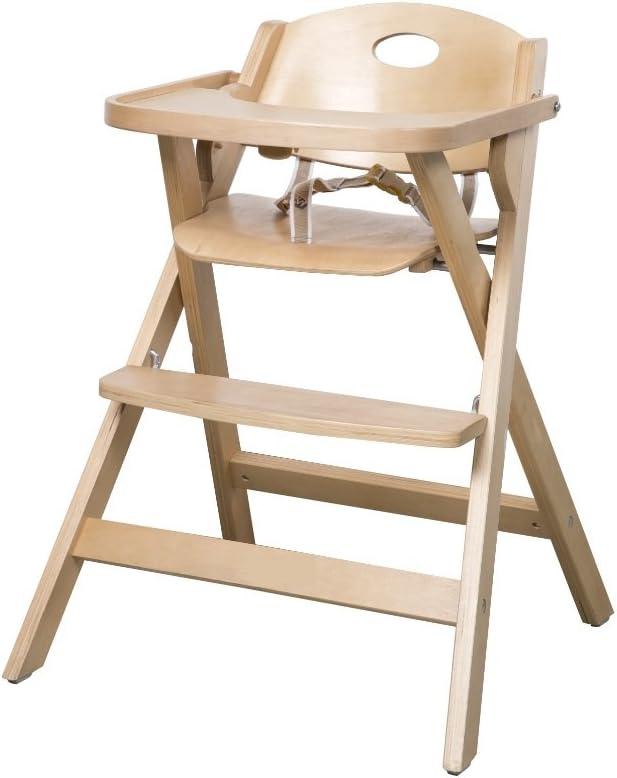 Trona plegable roba, ahorra espacio al plegarse, trona para bebé y silla infantil en madera natural