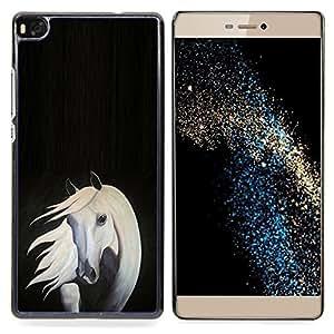 GIFT CHOICE / Teléfono Estuche protector Duro Cáscara Funda Cubierta Caso / Hard Case for Huawei Ascend P8 (Not for P8 Lite) // Horse Painting Art Grey White Black //