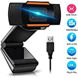 1080P Webcam AutoFocus with Microphone, USB(2.0/3.0) Computer Camera for Live Streaming Webcam,110 Degrees Wide-Angle 30fps for Laptop, Noise Reduction Desktop, Conferencing, Video Chatting