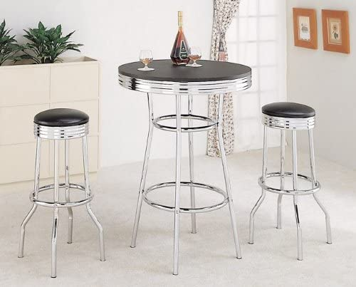 Set of 2 50 s Retro Nostalgic Style Black Bar Stools – 29 H
