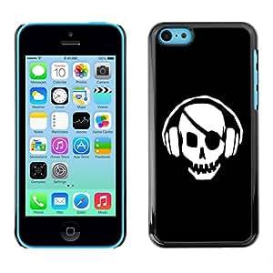 Caucho caso de Shell duro de la cubierta de accesorios de protección BY RAYDREAMMM - Apple iPhone 5C - Skull Pirate Beat