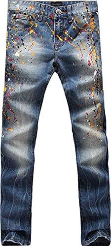 Uomini Jeansian Denim Uomo Sottile Moda Tendenze Casual J247 Jeans blue Pantaloni Stampa ww76q8T