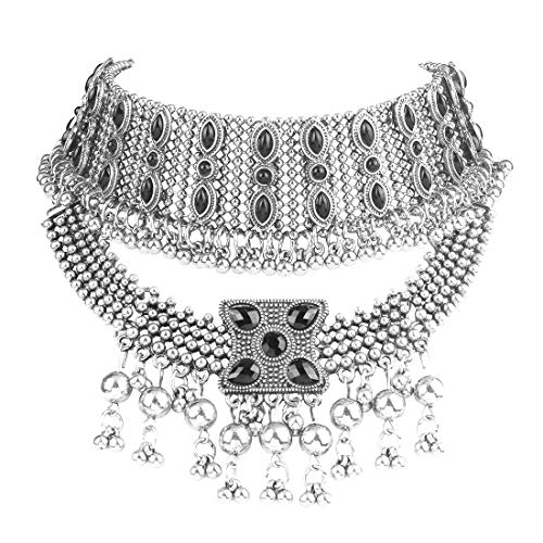 Idealway Retro Boho Tribal Tassel Collar Bib Chain Chunky Pendant Statement Necklace Choker for Women (Silver) (Necklace Tribal Silver)