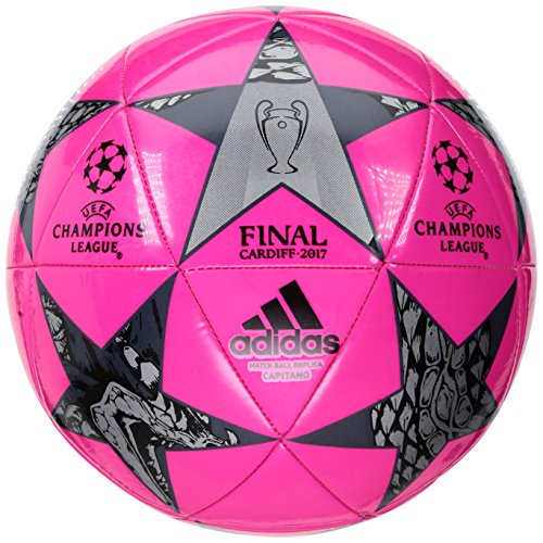 adidas Performance Champions League Finale Cardiff Capitano Soccer Ball, Shock Pink/Black/Night Metallic, Size 5 (Mini Pink Soccer Ball)